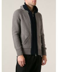 Moncler - Gray Hooded Cardigan for Men - Lyst