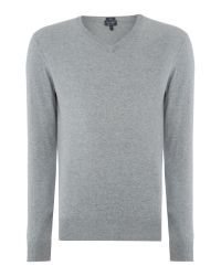 Armani Jeans | Gray V Neck Logo Jumper for Men | Lyst