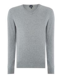Armani Jeans - Gray V Neck Logo Jumper for Men - Lyst