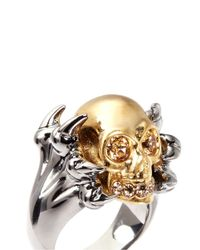 Alexander McQueen - Metallic Claw And Skull Ring - Lyst