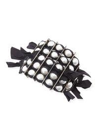 Lanvin - Black Grosgrain Pearly Bracelet - Lyst