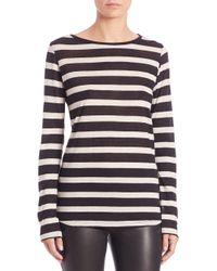 Saks Fifth Avenue - Black Stripe Cotton-cashmere Long-sleeve Tee - Lyst