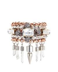 Assad Mounser | Metallic 'eno' Mineral Crystal Spike Bracelet | Lyst