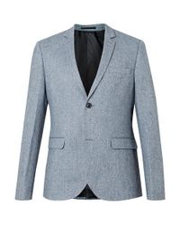 TOPMAN - Light Blue Wool Rich Textured Skinny Fit Suit Jacket for Men - Lyst