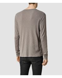 AllSaints - Gray Biedra Long Sleeve Crew for Men - Lyst