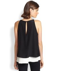 Elizabeth and James - Black Fern Silk Double Tiered Tank - Lyst
