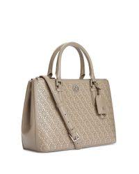 Tory Burch | Gray Robinson Floral Perforated Mini Double-zip Tote | Lyst