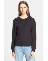 Sea - Black Lace Trim Sweatshirt - Lyst