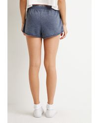 Forever 21 - Blue Heathered Drawstring Shorts - Lyst