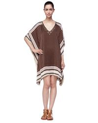 Michael Kors | Brown Michael Printed Studded Caftan Dress | Lyst