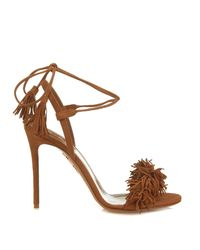 Aquazzura | Brown Wild Thing Suede Fringed Sandals | Lyst