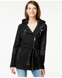 Michael Kors | Black Michael Quilted-sleeve Asymmetrical-zip Coat | Lyst