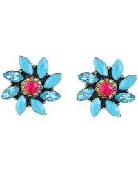 Betsey Johnson | Blue Turqs And Caicos Flower Stud | Lyst