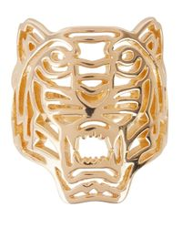 KENZO - Metallic Gold Tone Cut-Out Tiger Ring - Lyst