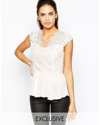 Elise Ryan | White Scallop Lace Plunge Top | Lyst