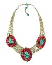 Aeravida | Metallic Tribal Enchantress Stone Mosaic Collar Silk Net Necklace | Lyst