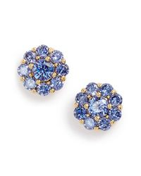 kate spade new york | Blue Crystal Flower Stud Earrings - Light Sapphire | Lyst