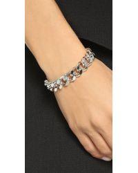 Gemma Redux - Metallic Chain Cuff Bracelet - Rhodium - Lyst
