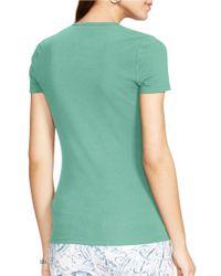 Lauren by Ralph Lauren | Green Cotton Crewneck T-shirt | Lyst