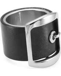 Givenchy - Black Leather Buckle Ring - Lyst