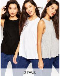 ASOS - Black Swing Vest With Drape 3 Pack Save 15% - Lyst