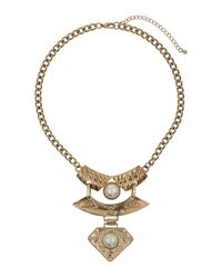 TOPSHOP - Metallic Triple Section Engraved Necklace - Lyst