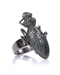 Ileana Makri | Metallic 18kt Rose Gold Beetle Ring With Blue And Black Diamonds | Lyst