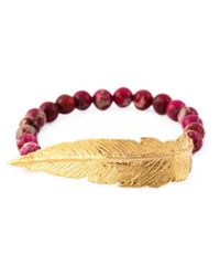 Leivan Kash - Purple Beaded Feather Bracelet - Lyst