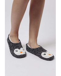 TOPSHOP | Black Penguin Footsie Slippers | Lyst