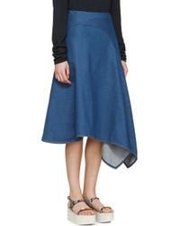 Stella McCartney - Blue Indigo Asymmetrical Denim Skirt - Lyst