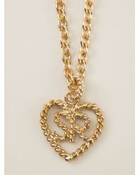 Sonia Rykiel - Metallic Heart Logo Pendant Necklace - Lyst