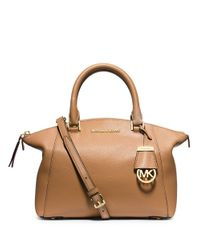 MICHAEL Michael Kors - Brown Riley Small Leather Satchel - Lyst