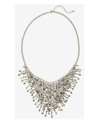 Express - Metallic Facted Bead Woven Bib Necklace - Lyst