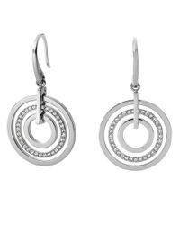 Michael Kors | Metallic Silvertone Encrusted Circle Drop Earrings | Lyst