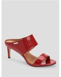 CALVIN KLEIN 205W39NYC - Red Cecily Patent Leather Heel Mule Sandal - Lyst