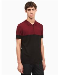Calvin Klein - Red Classic Fit Colorblock Zip Polo Shirt for Men - Lyst