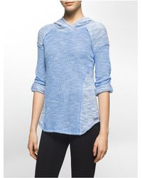 Calvin Klein | Blue Performance Textured Roll-up Hoodie | Lyst