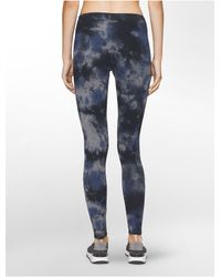Calvin Klein - Blue Performance Heathered Tie-dyed Leggings - Lyst