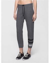 Calvin Klein | Gray Performance Metallic Logo Cropped Sweatpants | Lyst
