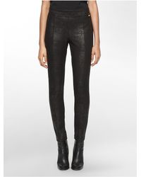 Calvin Klein | Black Embossed Ponte Knit Leggings | Lyst