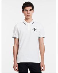 Calvin Klein | White Jeans Slim Fit Cotton Piqué Polo Shirt for Men | Lyst