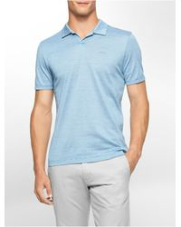 Calvin Klein - Blue Slim Fit Heathered Striped Polo Shirt for Men - Lyst