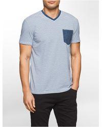Calvin Klein | Blue Jeans Slim Fit Mini Stripe Tonal V-neck T-shirt for Men | Lyst