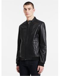 Calvin Klein   Black Jeans Leather Moto Jacket for Men   Lyst