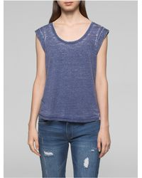 CALVIN KLEIN 205W39NYC - Blue Jeans Faded Rolled Sleeve Top - Lyst