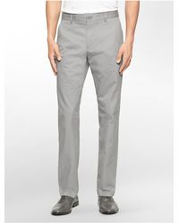Calvin Klein   Gray Straight Fit Sateen Chino Pant for Men   Lyst