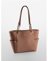 Calvin Klein | Brown Saffiano Leather Chain-trimmed Tote Bag | Lyst