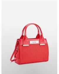 Calvin Klein - Red Logo Jacquard Studio Center Zip Carry All - Lyst