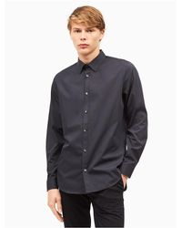 Calvin Klein - Black Classic Fit Non-iron Ministripe Cotton Shirt for Men - Lyst