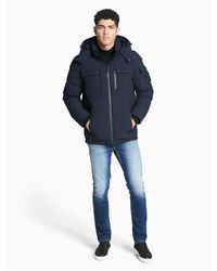 Calvin Klein - Blue Down Hooded Jacket for Men - Lyst